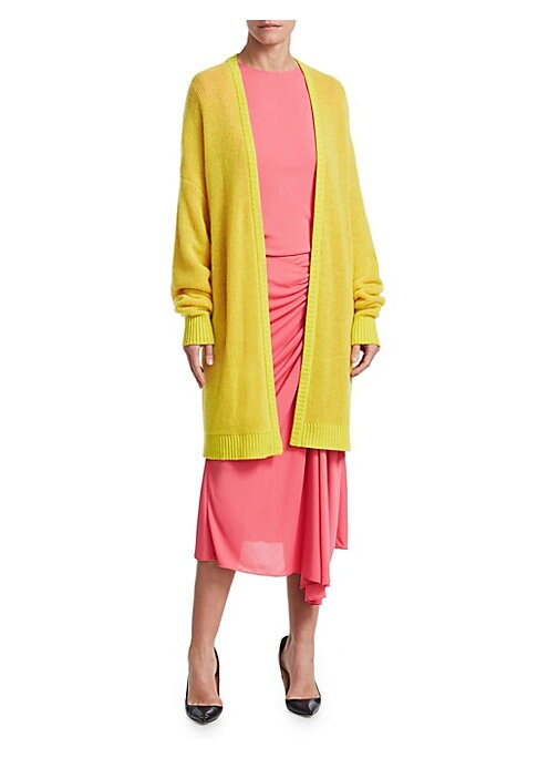 Image of Designer Natalie Ratabesi held down gigs at Dior, Yeezy and Gucci prior to branching off with her own Los Angeles-based label. Her streetwear aesthetic is on full display with this luxe cashmere cardigan, boasting an oversized silhouette in a look-at-me n