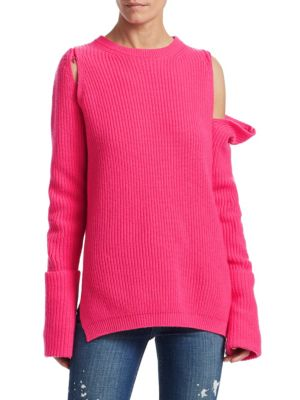 TRE BY NATALIE RATABESI Zip-Off Sleeve Cashmere Sweater in Pink Candy