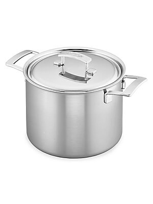 Image of Designed to meet the demands of busy restaurant kitchens, the Industry 8-qt Stainless Steel Stock Pot cooks up delicious one-pot meals, succulent roasts, savory stews and comforting chili. Thanks to its chef-friendly features- like a dripless pouring rim