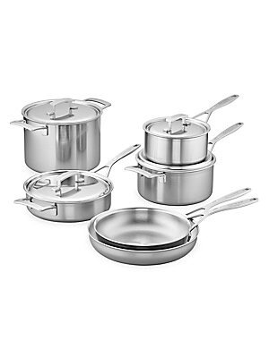 Image of Designed to meet the demands of busy restaurant kitchens, the Industry 10-pc Stainless Steel Cookware Set equips your kitchen with expertise. This well-stocked set is suitable for both seasoned chefs and new cooks who want a superior starter set. Each pre