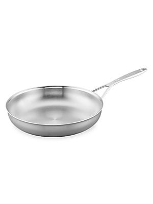 "Image of Designed to meet the demands of busy restaurant kitchens, the Industry Stainless Steel Ceramic Nonstick Fry Pan cooks up stellar scrambled eggs and golden grilled cheese. Non-stick coating Aluminum core Flat base technology 11"" L X 9"" W X 2"" D Stainless s"