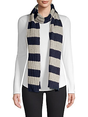 "Image of Stripe scarf crafted from cashmere 10"" x 72"" Cashmere Dry clean Imported. Soft Accessorie - Cold Weather Accessories. Portolano. Color: Navy."