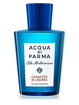 Image of A rich shower gel that respects the skin's natural moisture. Your skin is fresh and velvety, enveloped by the refreshing and lively scent of Chinotto di Liguria. Top notes: Chinotto and mandarin. Heart Notes: Jasmine, geranium, rosemary and cardamom. Base