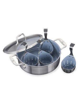 Zwilling J A Henckels 6 Piece Stainless Steel Ceramic Non Stick Universal Pan Amp Egg Poacher Set
