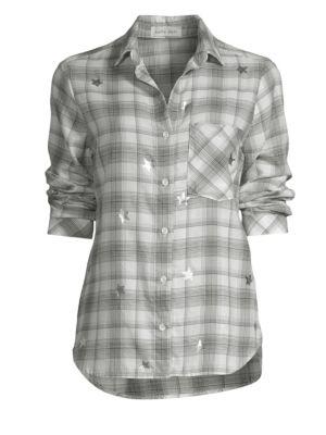 BELLA DAHL Plaid Button-Down Shirt in Black White