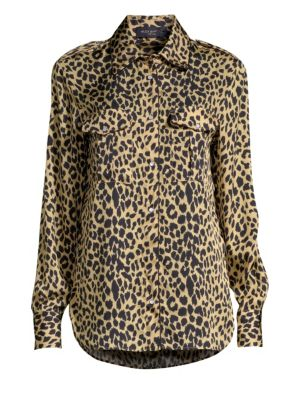 PIAZZA SEMPIONE Long-Sleeve Button-Front Leopard Animal-Print Silk Shirt in Black