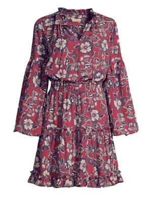 SHOSHANNA Moravia Floral Long-Sleeve Shirt Dress in Mulberry Multi