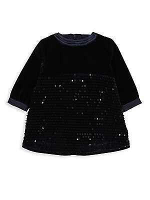 Image of Party-ready velvet dress enhanced with sequin detailing. Roundneck Three-quarter sleeves Concealed back zip Cotton lining Cotton/polyester Machine wash Imported. Children's Wear - Contemporary Children. Billieblush. Color: Indigo Blue. Size: 2.