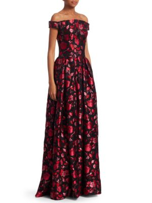 Off-The-Shoulder Sleeveless Floral-Jacquard Evening Gown, Multi Berry