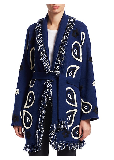Image of From the Saks IT LIST. PUTTING ON THE KNITS. That favorite-sweater feeling goes from head to toe. Paisley embroidery offers bohemian accents to this cozy knit cardigan. Ideal for those who require a free-spirited vibe, these fringes offer flair. Shawl col