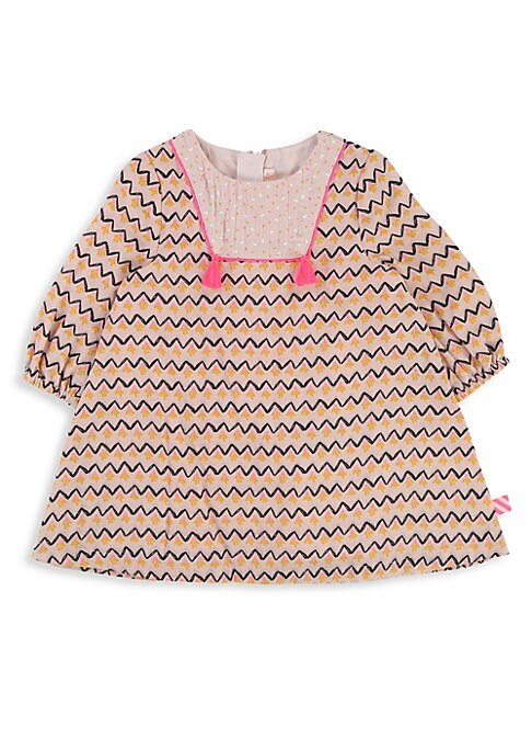 Image of Comfy cotton dress enhanced with tassel and allover chevron print. Roundneck. Long sleeves. Elasticized cuffs. Concealed back zip. Cotton lining. Cotton. Machine wash. Imported.