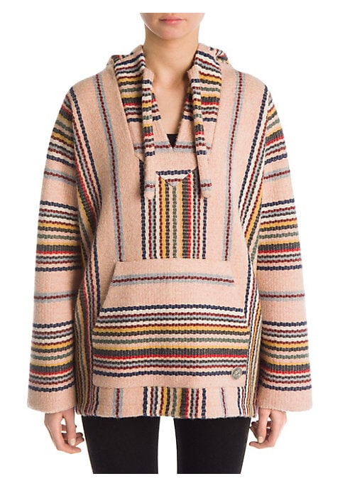Image of From the Saks IT LIST. PUTTING ON THE KNITS. That favorite-sweater feeling goes from head to toe. This artisanal piece is woven into multicolor stripes and an athletic silhouette. Baggy in its look, this luscious essential is made for bohemian styling. At