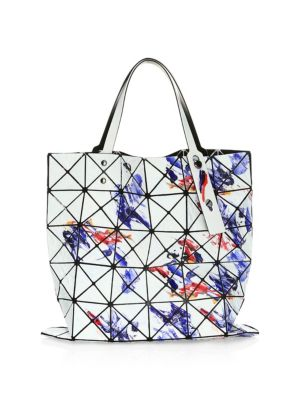 BAO BAO ISSEY MIYAKE Shiny Painting Tote Bag in White Mix