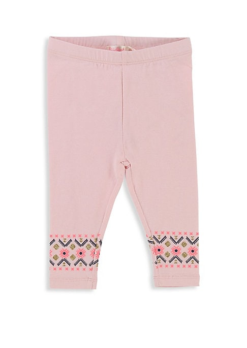 Image of Comfortable cotton-blend leggings with printed trim detail. Elasticized waistband. Pull-on style. Cotton/elastane. Machine wash. Imported.