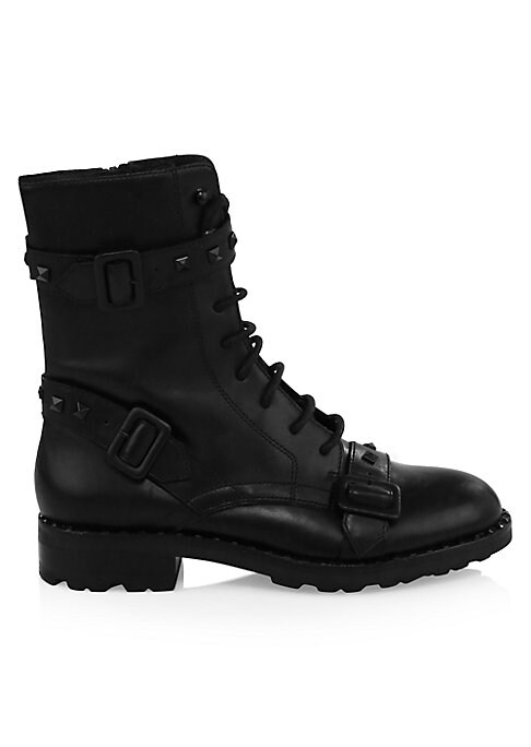 """Image of Allover stud and buckle detailing add a tough edge to these lace-up calf leather boots. Leather upper. Round toe. Lace-up vamp and side zip closure. Leather lining. Padded insole. ABS/rubber sole. Imported. SIZE. ABS/rubber lug heel, 1.42"""" (36mm).Shaft, 7"""