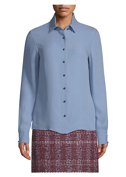 Image of For a sophisticated look at the office and beyond, add this silk Georgette blouse to your collection. Eye-catching button front design in a luxe silk finish, this piece works with trousers, jeans or skirts. Point collar. Long sleeves. Button cuffs. Button