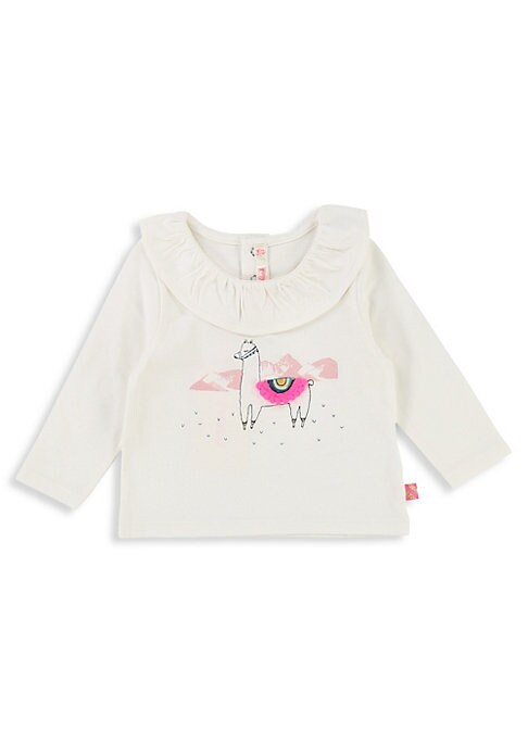 Image of Comfy cotton tee with lama graphic detail on front. Roundneck. Long sleeves. Back snap closure. Cotton. Machine wash. Imported.