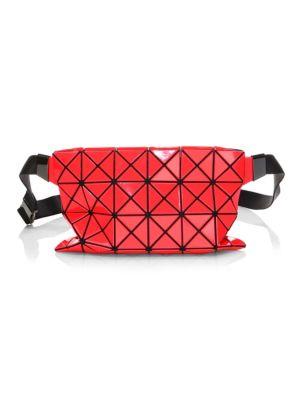 Geometric Paneled Waist Bag, Red Pink