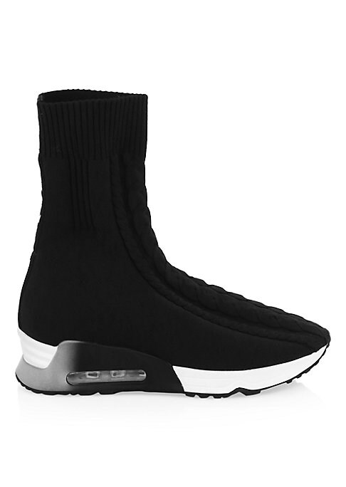"""Image of Cable knit accents enhance these on-trend sock-style sneakers. Polyester upper. Round toe. Pull-on style. Leather lining. Padded insole. Rubber sole. Imported. SIZE. Rubber flatform heel, about 1.63"""" (40mm).Shaft, about 7.7"""".Leg opening, about 9.4""""."""