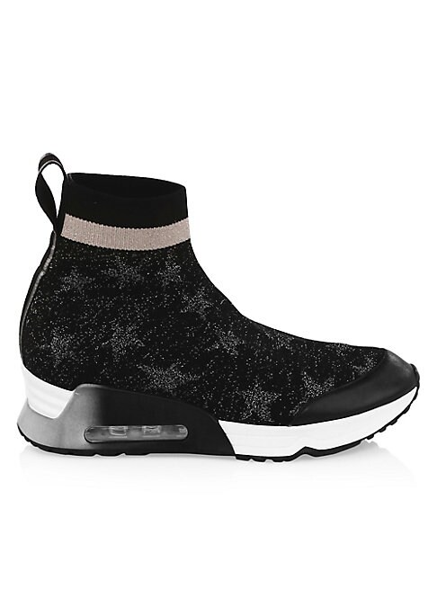 """Image of Allover metallic stars enhance these on-trend sock-style sneakers with pull-tab detailing. Polyester/leather upper. Round toe. Pull-on style. Polyester/leather lining. Padded insole. Rubber sole. Imported. SIZE. Rubber flatform heel, about 1.63"""" (40mm)."""