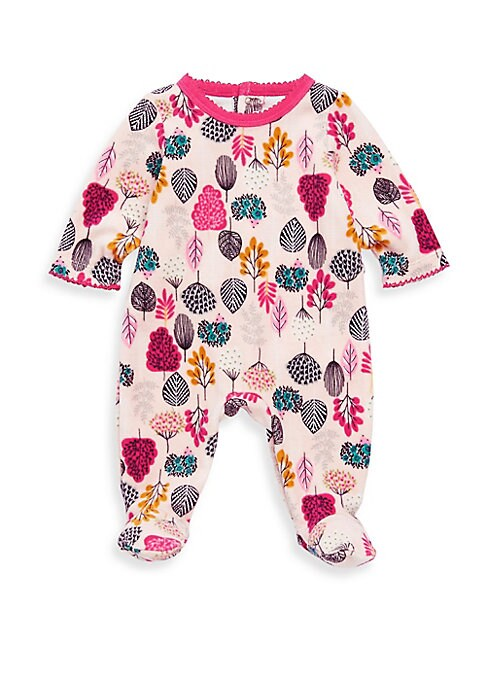 Image of Allover floral print adorns this cozy sleeper in a soft, snuggly cotton-blend knit. Roundneck. Long sleeves. Snap-button back yoke. Scalloped trim at neck and cuffs. Cotton/polyester. Machine wash. Imported.