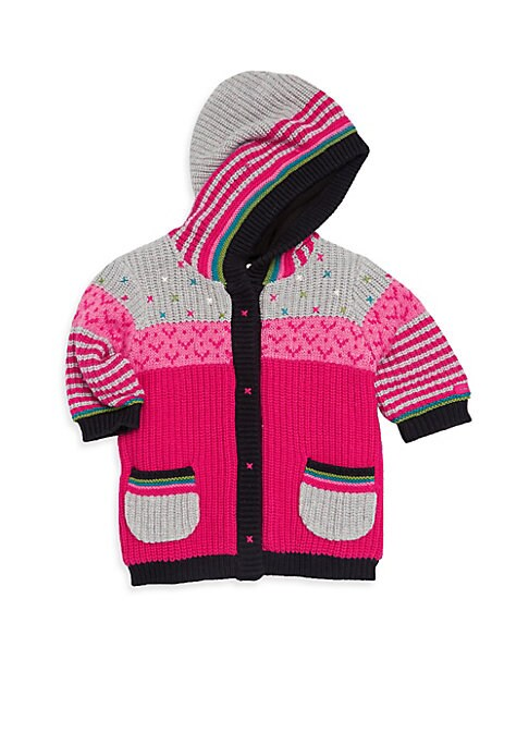 Image of Colourful knit hoodie with adorable patchwork design is a must-have for baby. Attached hood. Long sleeves. Grip-tape closure. Waist patch pockets. Polyamide/viscose/cotton/wool. Machine wash. Imported.