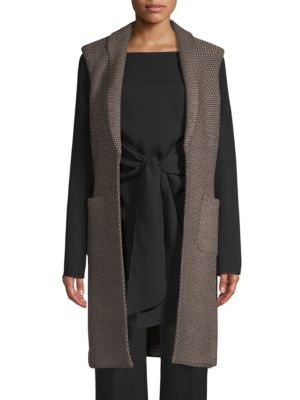 Riso Wool Blend Long Vest by St. John