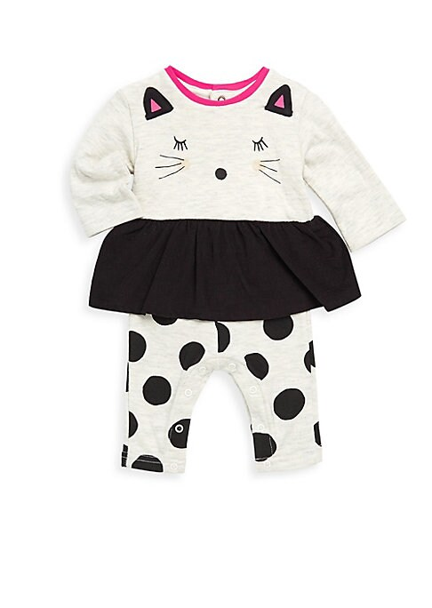 Image of Adorable peplum romper with cat graphic and polka dots. Roundneck. Long sleeves. Back and leg ring snap closure. Cotton. Machine wash. Imported.
