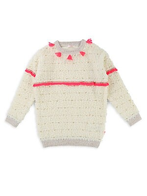 Image of Comfy sweater dress with tassel and frayed detailing Roundneck Long sleeves Rib-knit cuffs, neck and hem Acrylic/wool Machine wash Imported. Children's Wear - Contemporary Children. Billieblush. Color: White. Size: 4.
