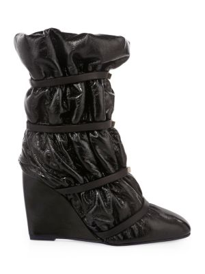 Women'S Duvet Round Toe Studded Leather Wedge Boots in Black
