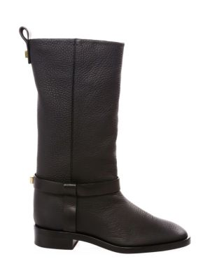 Casey Chic Leather Mid-Calf Boots, Pitch Black