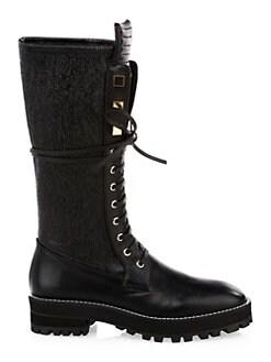 b6f844b078da Stuart Weitzman. Elspeth Lace-Up Leather Knee-High Combat Boots