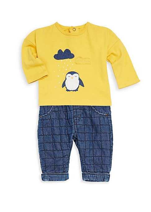 Baby Boys LongSleeve Penguin Tee and Check Jeans Set
