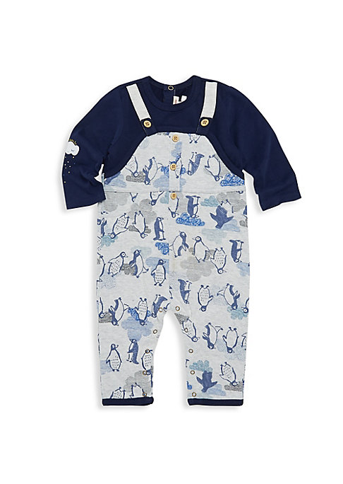 Image of Adorable playsuit looks like overalls and a shirt but is designed as one piece for easy on/off. Long sleeves. Back snap closure. Snap bottom opening. Cotton/elastane. Machine wash. Imported.