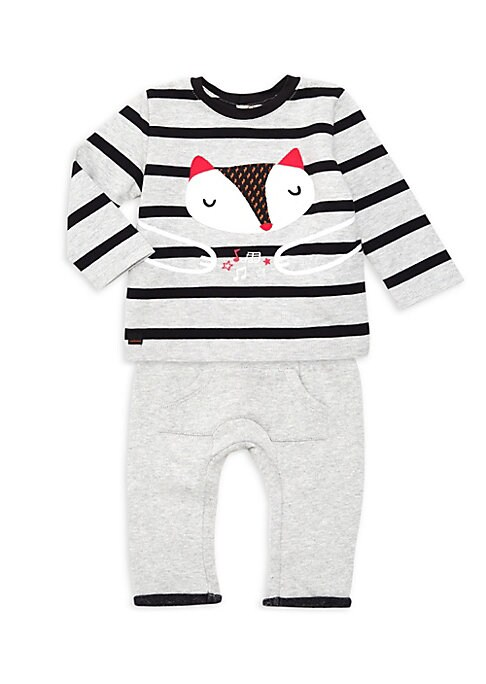 Image of Adorable striped cotton top with fleece trousers is all set for snuggles. Machine wash. Imported. TOP. Roundneck. Long sleeves. Snap-back closure. Cotton. BOTTOM. Drawstring waist. Pull-on style. Polyester.