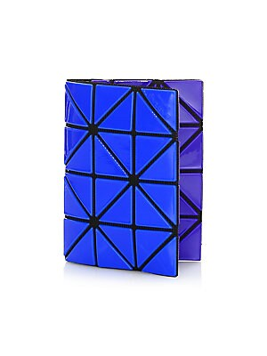 Image of Bright geometric triangles cover petite card case Two interior card slots 4.25W x 3H Polyvinyl chloride/polyester/nylon Imported. Handbags - Collection Handbags > Saks Fifth Avenue. Bao Bao Issey Miyake. Color: Blue.