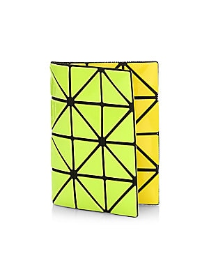 Image of Bright geometric triangles cover petite card case Two interior card slots 4.25W x 3H Polyvinyl chloride/polyester/nylon Imported. Handbags - Collection Handbags > Saks Fifth Avenue. Bao Bao Issey Miyake. Color: Yellow Lime.