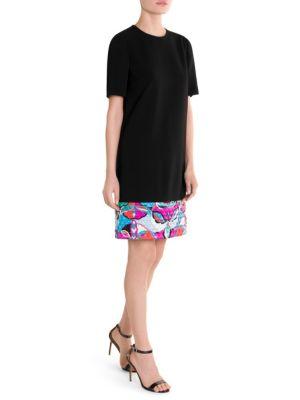 Quilted Print Hem T-Shirt Dress, Black