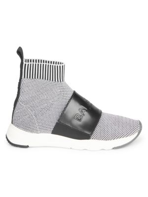 Cameron Knit Logo-Strap Running Sock Sneakers, Black White