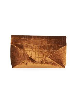 Crocodile-Embossed Velvet Envelope Clutch Bag in Tan