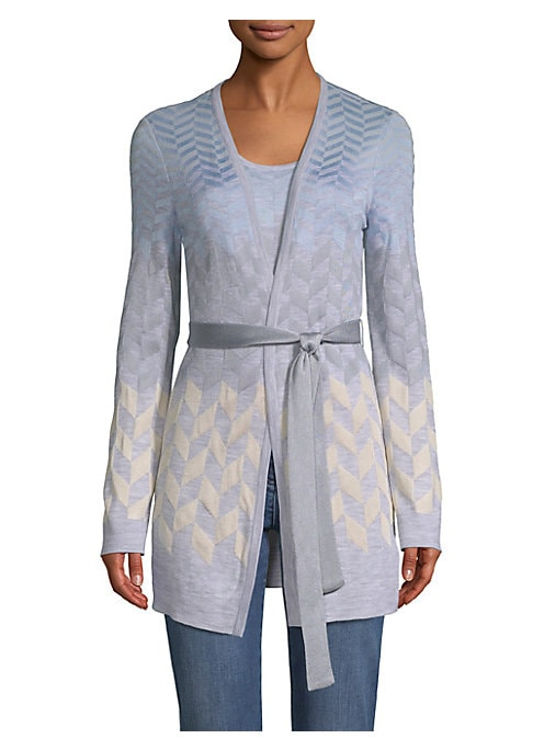 Image of The St. John house adds a tonal jacquard herringbone textures to this elegant wool-blend long sleeve cardigan, with self-tie belt. Subtle color changes in the metallic threads complete this eye-catching wrap-around piece.V-neck. Long sleeves. Open front w