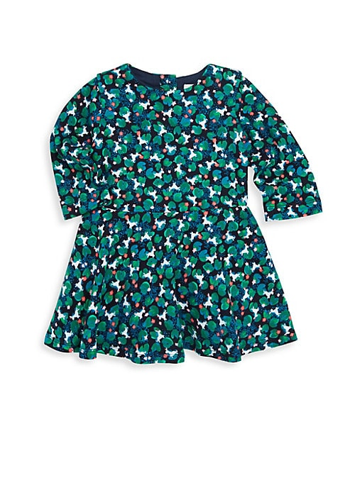Image of Cacti and succulent graphics merge on cute flared dress. Roundneck. Long sleeves. Button back. Banded waist. Cotton lining. Cotton/elastane/polyamide. Machine wash. Imported.