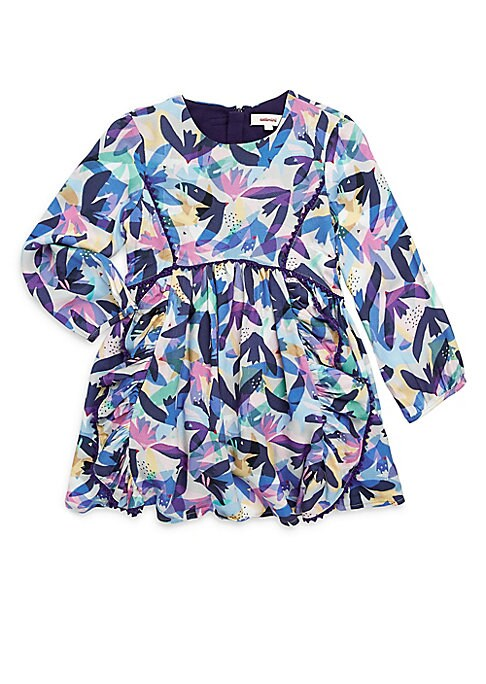 Image of Allover flower print appear in colorful abstract formation on dress. Roundneck. Long peasant sleeves. Concealed back zip. Banded scalloped waist. Cotton lining. Viscose. Machine wash. Imported.
