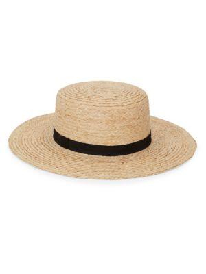 HAT ATTACK Wide Boater Hat in Natural Black