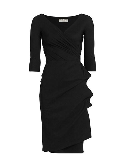 Three Quarter-Sleeve Pleated Sheath Dress