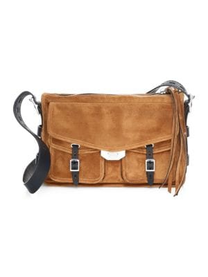 Field Suede Crossbody Messenger Bag, Tan