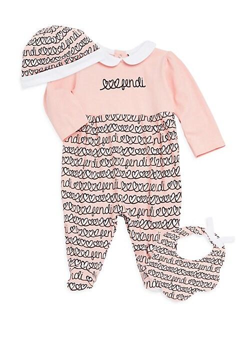 Baby Girls ThreePiece Printed Beanie Bib  Footie Set