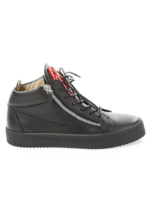 Image of Luxe textures update iconic side zip sneakers. Leather upper. Round toe. Lace-up vamp. Dual side zips. Leather lining. Padded insole. Rubber sole. Made in Italy.