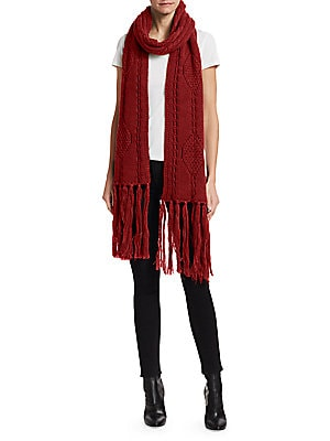 "Image of Rich wool scarf with cable knit textures and long fringe trim. Wool Dry clean Made in Italy SIZE 39""W x 98""L. Soft Accessorie - Cold Weather Accessories. Isabel Marant. Color: Ecru."