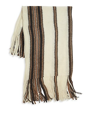 "Image of Luxe mohair scarf with striped patterns and fringe ends. Mohair/polyamide/wool Dry clean Made in Italy SIZE 43""W x 63""L. Soft Accessorie - Cold Weather Accessories. Isabel Marant. Color: Ecru."